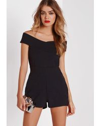 Missguided Cross Front Bardot Playsuit Black