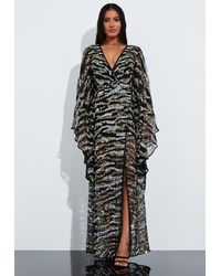 Missguided Black Animal Print Embellished Kimono Sleeve Maxi Dress