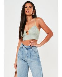 Missguided Lace Overlay Plunge Bralet - Blue