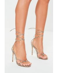 Missguided Nude Snake Thong Skinny Ankle Tie Heels - Natural