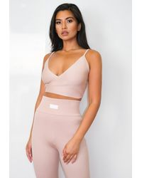 Missguided Co Ord Msgd Rib Wrap Front Crop Top - Pink