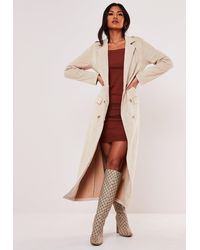 Missguided Faux Suede Maxi Trench Coat - Natural