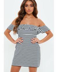 Missguided - Monochrome Stripe Bardot Frill Dress - Lyst