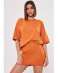 Missguided Orange T Shirt And Skirt Co Ord Set