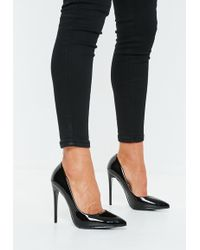 Missguided Black Pu Pointed Toe Court Heels
