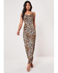 Missguided Petite Brown Cowl Back Leopard Print Maxi Dress