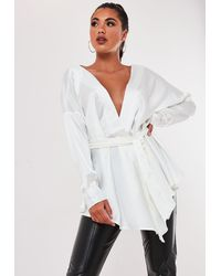 Missguided Ivory Satin Plunge Tie Waist Blouse - White