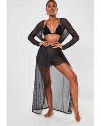 Missguided Black Glitter Mesh Stripe Beach Kimono