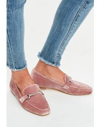 Missguided Pink Velvet Loafers