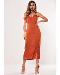 Missguided Rust Satin Strappy Cross Back Midi Dress - Orange