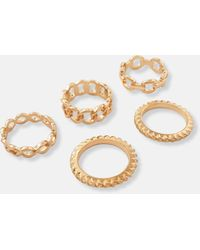 Missguided - Look Chain Stacked Rings 5 Pack - Lyst