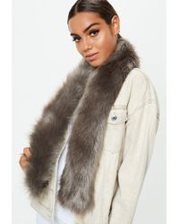 Missguided - Grey Faux Fur Stole Scarf - Lyst