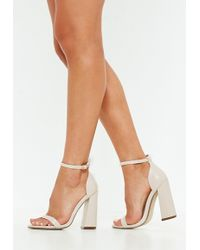 d753f5e8740 Lyst - Missguided Lace Up Peep Toe Block Heel Nude in Blue