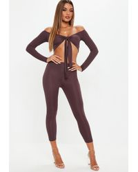 Missguided - Wine Ribbed Leggings And Tie Front Crop Co Ord - Lyst