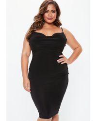 Missguided - Plus Size Black Slinky Midi Dress - Lyst