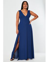 Missguided Crepe Plunge Maxi Bridesmaid Dress - Blue