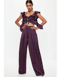 Missguided - Tall Burgundy Wide Leg Stripe Pants - Lyst