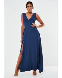 Missguided Crepe Plunge Maxi Bridesmaid Dress - Blue