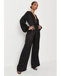Missguided Wide Leg Tie Front Satin Playsuit - Black