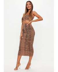 Missguided - Petite Snake Print Ribbed Skirt And Crop Top Co Ord Set - Lyst