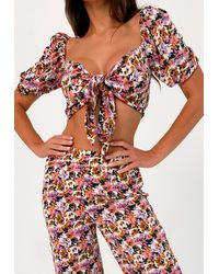 Missguided Purple Floral Print Beach Cover Up Top And Hair Scrunchie