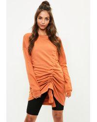 Missguided - Orange Ruched Detail Jumper Dress - Lyst