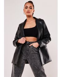 Missguided Black Faux Leather Oversized Masculine Blazer