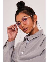 Missguided - Jezabell Blue Light Pink Glasses - Lyst