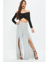 Missguided - Grey Slinky Split Wide Leg Trousers - Lyst
