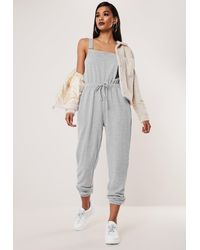 Missguided Grey Dungarees Jersey Jogger Cuff Jumpsuit