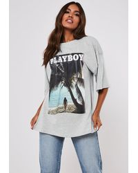 Missguided X Grey Tropical Graphic T Shirt