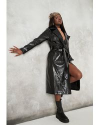 Missguided Black Croc Faux Leather Belted Trench Coat