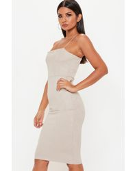 f105aa6871 Missguided - Nude Strappy Square Neck Suedette Midi Dress - Lyst