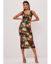 Missguided Black Floral Print Corset Top And Midi Skirt Co Ord Set