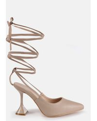 Missguided Tie Up Leg Feature Heel Court Shoes - Natural