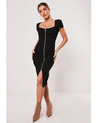 Missguided Black Cap Sleeve Zip Through Denim Midi Dress