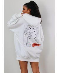 Missguided X White Comic Graphic Hoodie Dress