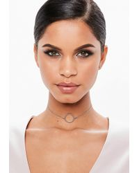 Missguided - Silver Look Simple Choker Necklace - Lyst