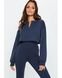 Missguided Navy Zip Front Crop Sweatshirt