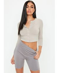 Missguided Stone Button Front Long Sleeve Crop Top - Gray