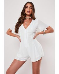 Missguided White Crinkle Button Through Playsuit
