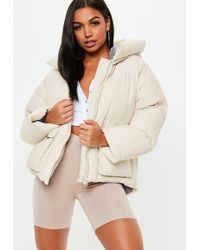 Missguided - Nude Ultimate Hooded Puffer Jacket - Lyst