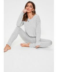 Missguided Grey Soft Knit Long Sleeve Lounge Tracksuit - Gray