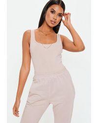 Missguided - Cream Square Neck Bodysuit - Lyst