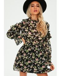 Missguided - Black Frill Sleeve Floral Waistband Dress - Lyst