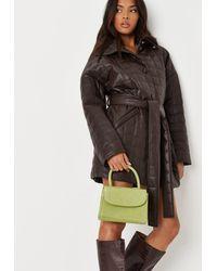 Missguided Lime Croc Mini Top Handle Bag - Multicolour