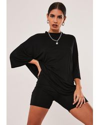 Missguided Black Oversized T Shirt Cycling Short Co Ord Set