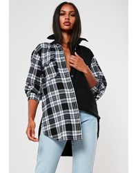 Missguided Petite Black Oversized Check Spliced Denim Shirt