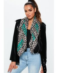 Missguided - Green Leopard Print Scarf - Lyst