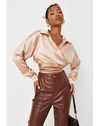Missguided Satin Wrap Around Cropped Shirt - Brown